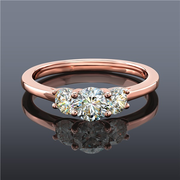 Fire Polish 3 Stone Diamond Ring, 14K Rose Gold