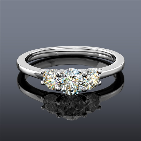 Fire Polish 3 Stone Diamond Ring, 14K White Gold