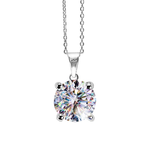 14k White Gold Fire Polish Solitaire Diamond Necklace