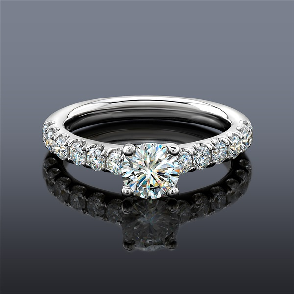 Fire Polish Diamond Engagement Ring, French Set Style