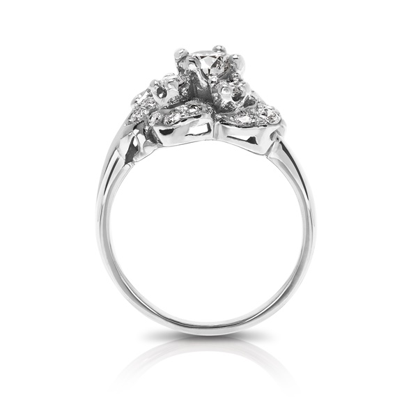 Ladies Retro Diamond Floral Ring