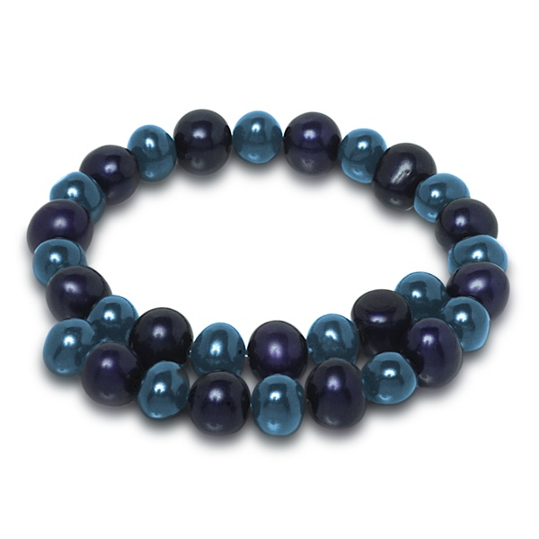 Ladies Sterling with Royal & Deep Blue Pearl Bracelet