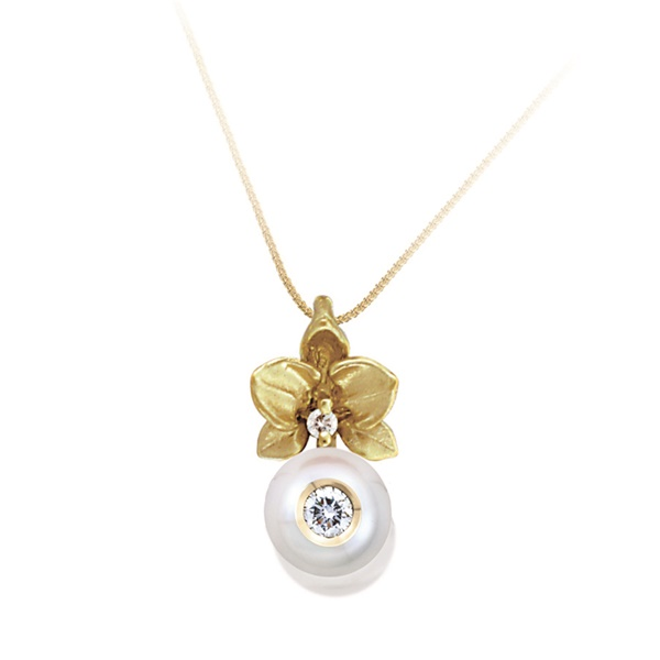Galatea Freshwater Pearl & Diamond Flower Necklace