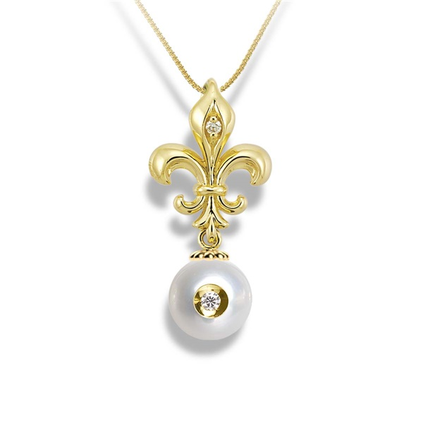 Galatea Diamond in Pearl Necklace Fleur De Lis Style