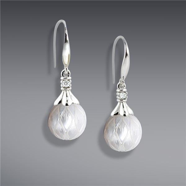 Galatea White Carved Pearl and Diamond Earrings