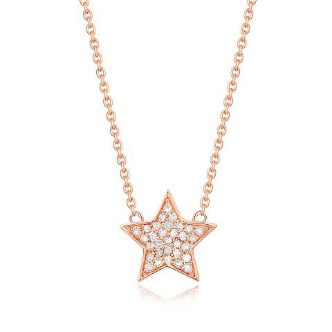 14k Gold Diamond Cluster Star Shaped Necklace