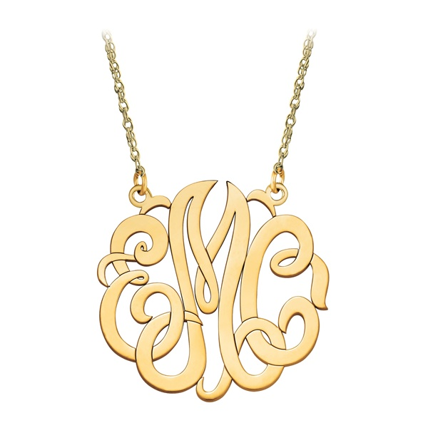 Medium 10K Gold Script Monogram Necklace