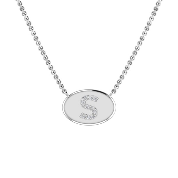 14k Gold & Diamond Signet Initial Necklace