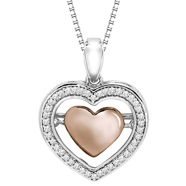 Rhythm of Love Two Tone Heart Diamond Necklace