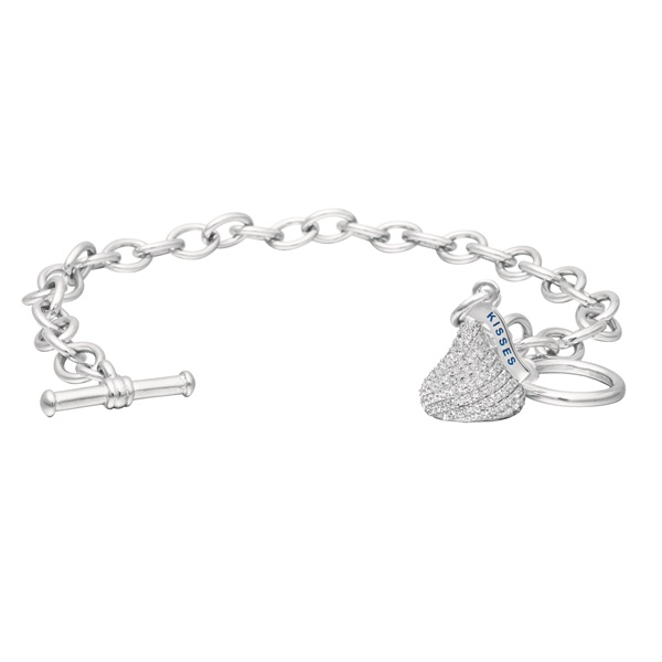 Hershey's Kiss Sterling Silver Bracelet with White CZs