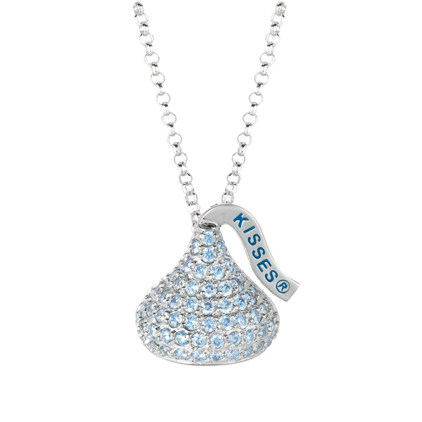 Hershey's Kiss Sterling Silver Necklace with Light Blue CZs