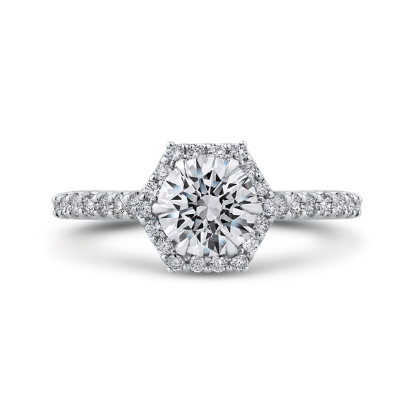 Carizza Hexagon Halo Engagement Ring