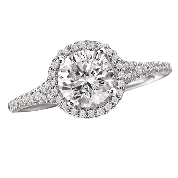 18K Micro Diamond Halo Engagement Ring .22ctw