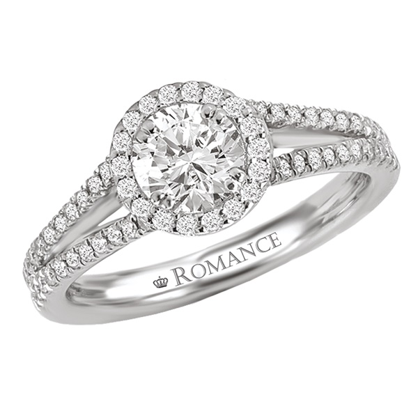 18K Split Shank Diamond Engagement Ring .32ctw