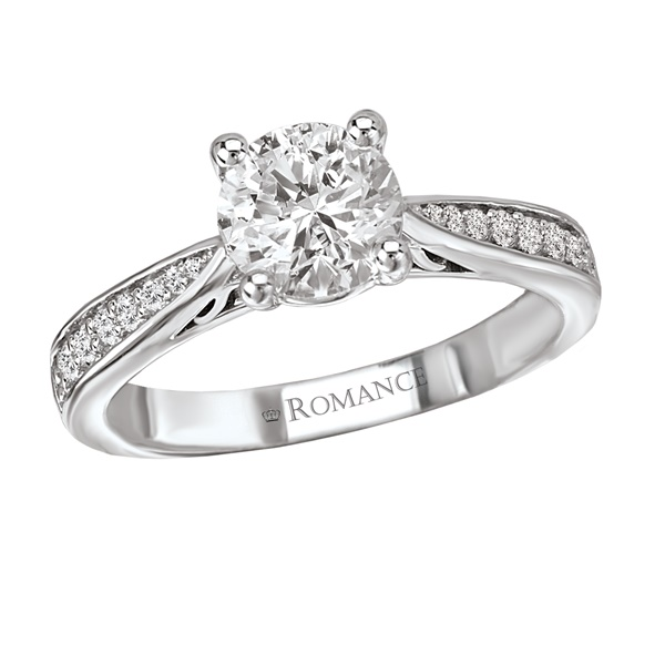 18K Tapered Diamond Engagement Ring .19ctw