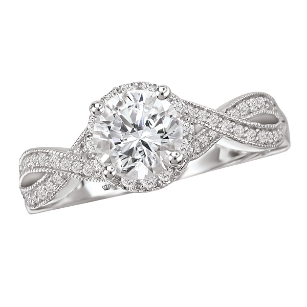 18K White Gold & Diamond Twist Engagement Ring .27ctw