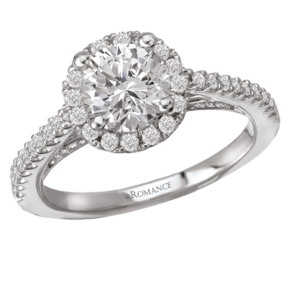 18K Diamond Halo Engagement Ring .34ctw Romance Collection