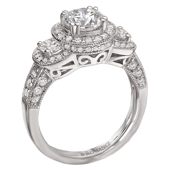 18K Diamond Three Stone Halo Engagement Ring .95ctw