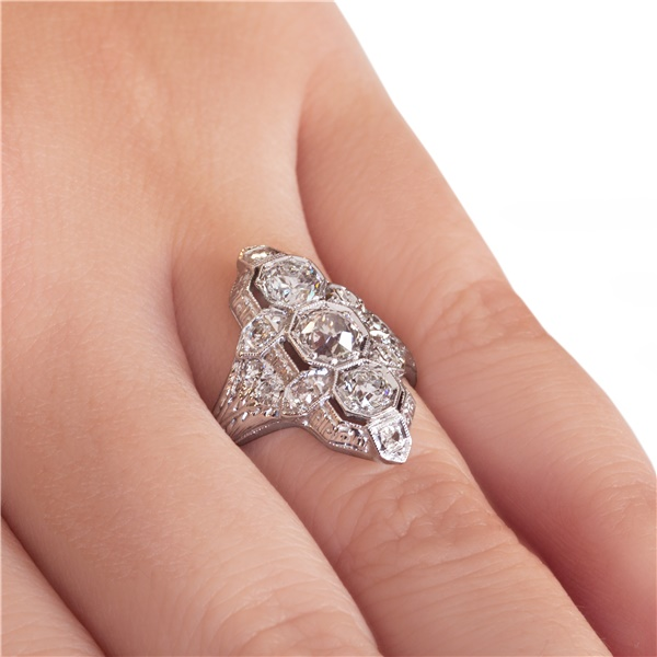 Vintage Edwarding  'Navette' Style Diamond Ring