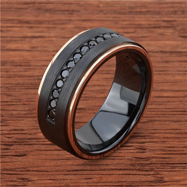 Black Zirconium, 14k Rose Gold and Black Diamond Wedding Band by Lashbrook Designs