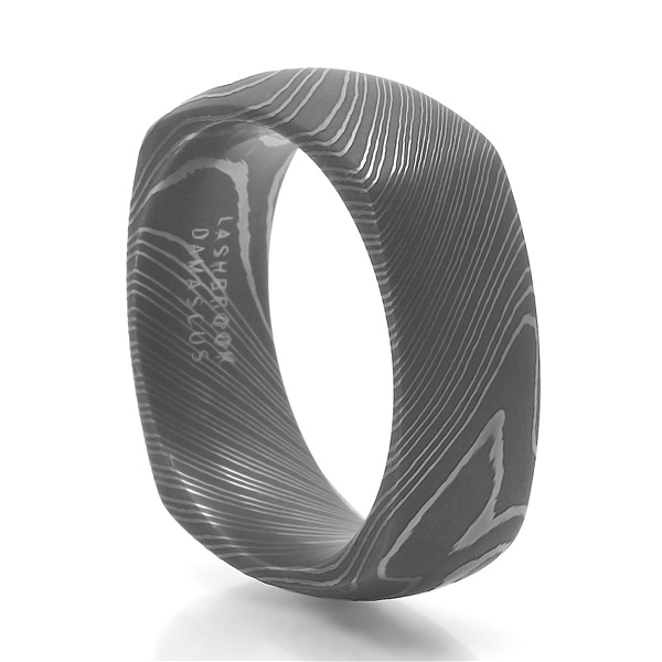 Lashbrook Damascus Steel Square Wedding Band - Argon