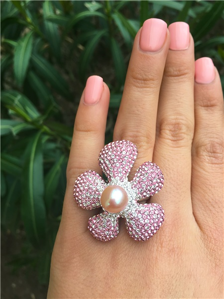 Light Pink Swarovski Crystal & Pearl Flower Ring