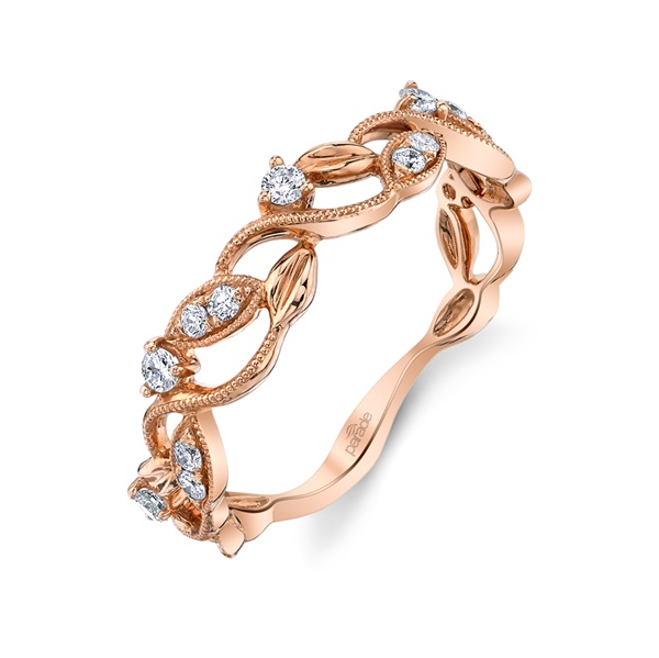 18kt Rose Gold and Diamond Wedding Band by Parade