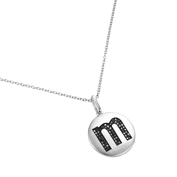 14K White Gold and Black Diamond M Initial Pendant