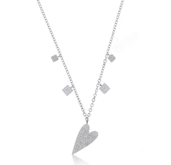 Meira T White Gold & Diamond Heart Charm Necklace
