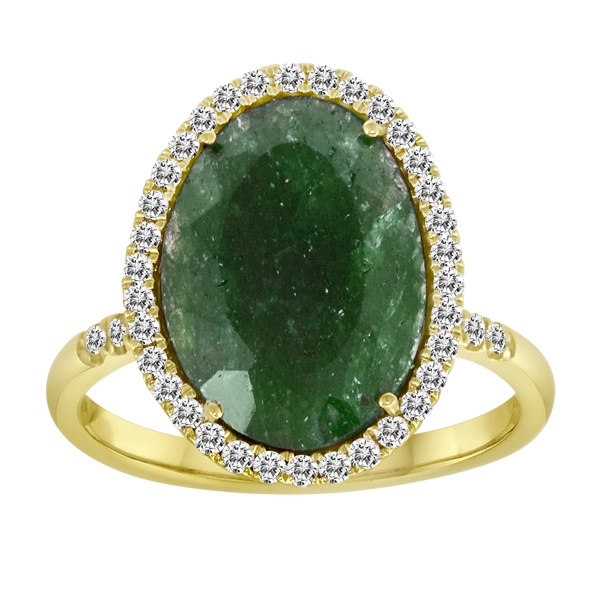 Meira T Rough Cut  Emerald & Diamond Ring