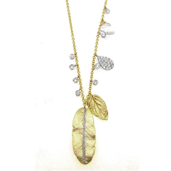 Meira T Diamond & Gold Leaf Necklace