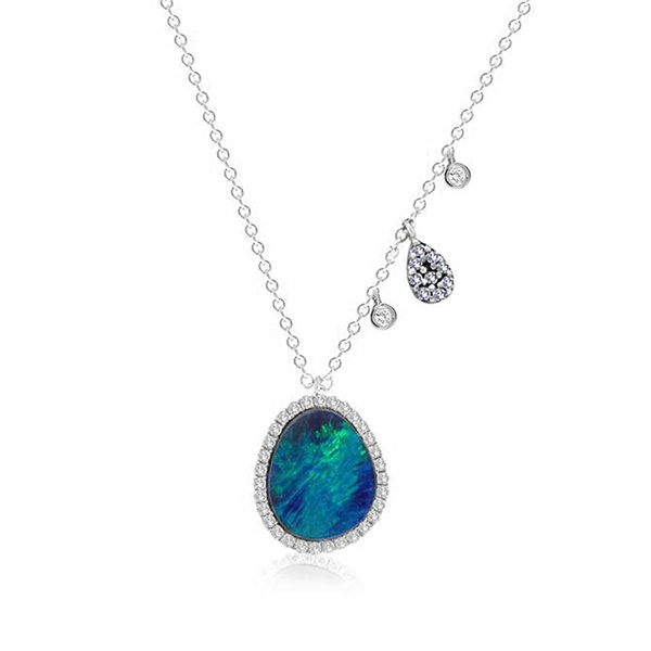 14k White Gold, Diamond & Opal Necklace by Meira T