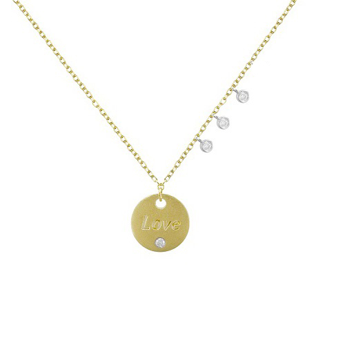 "Meira T Petite ""LOVE"" Gold Disc & Diamond Necklace"
