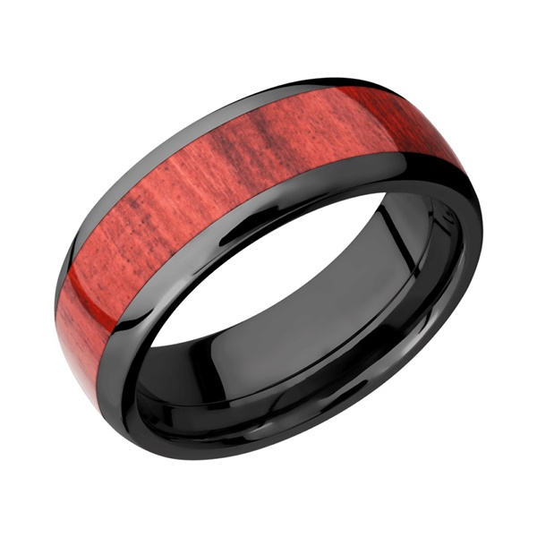 Red Heart Hardwood and Black Zirconium Ring by Lashbrook Designs