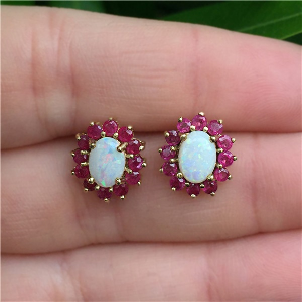 14K Gold, Opal and Ruby Earrings