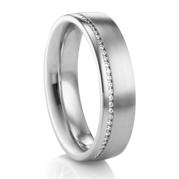 6mm Palladium & Diamond Men's Wedding Band