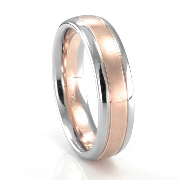 Coge Palladium and Rose Gold Rounded Band