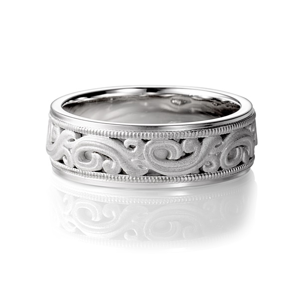 ARTCARVED ARDENT Carved Scroll Design Wedding Band