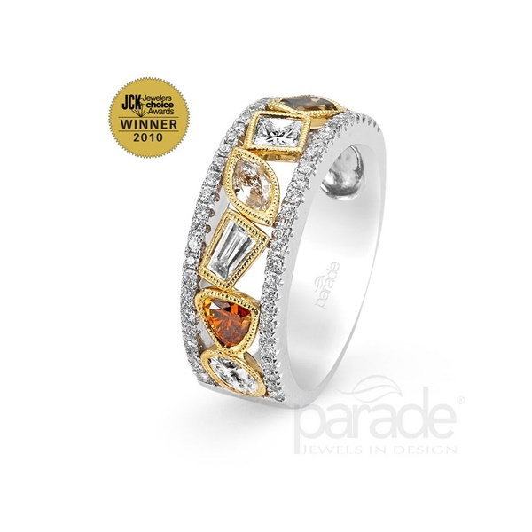 18kt Yellow and White gold Multi Colored Diamond Ring by Parade