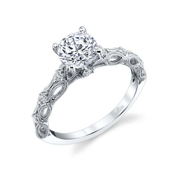 18kt White Gold Vintage Inspired Engagement Ring by Parade