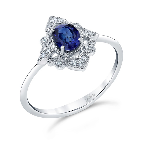 18kt White Gold Sapphire Diamond Ring by Parade