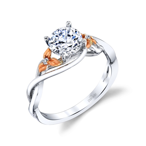 18kt White Gold Floral Diamond Engagement Ring by Parade