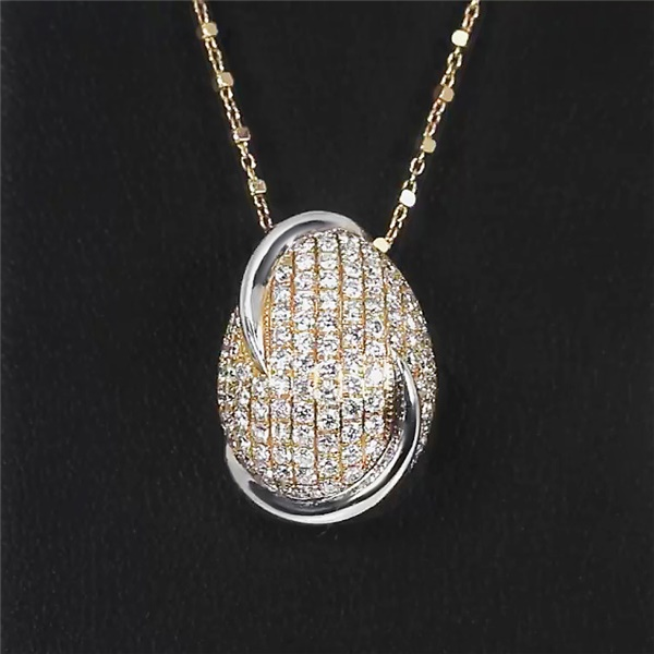 Two Tone 18k Gold & Diamond Egg Necklace by Parade