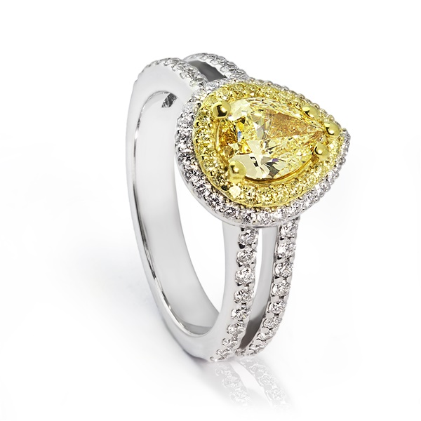 Pear Shape Fancy Yellow Diamond Ring - 1.29ctw