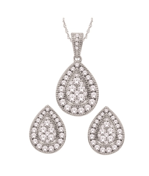 Pear Shaped 14k White Gold  & Diamond Cluster Set