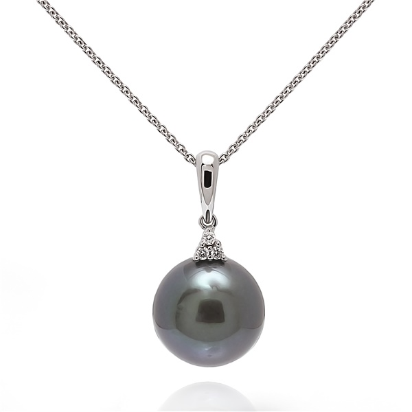 Black Tahitian Pearl & Diamond Necklace
