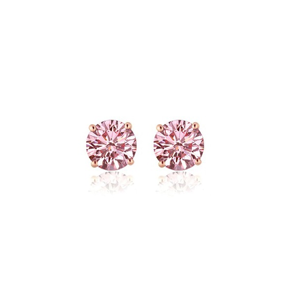 PGD Pink Diamond Stud Earrings Set in 14K Rose Gold - 1.09 ctw