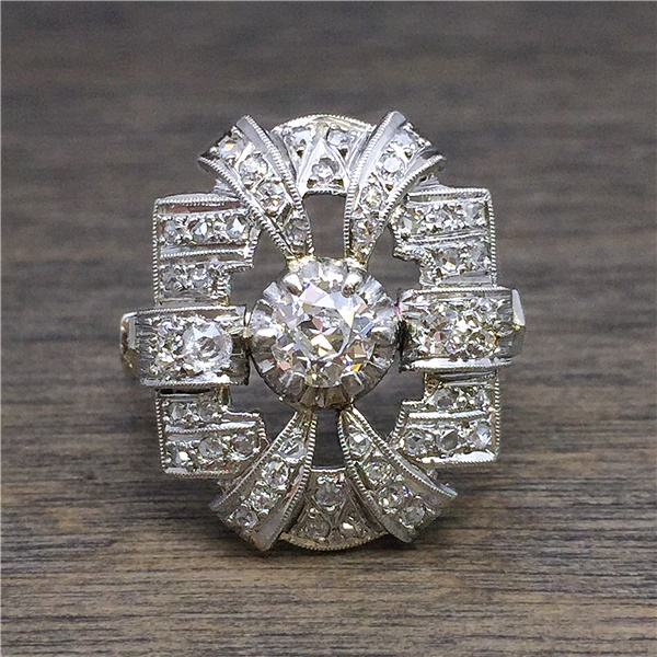 1920 S Platinum Art Deco Ring Antique Vintage Estate