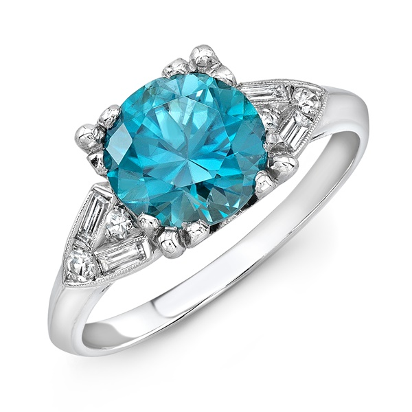 Vintage Platinum, Diamond & Blue Zircon Ring