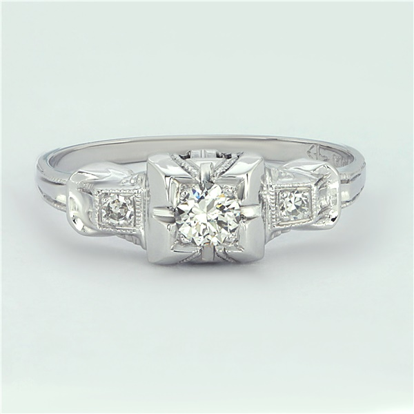 Ladies Platinum and Diamond Retro Engagement or Promise Ring - 1950s